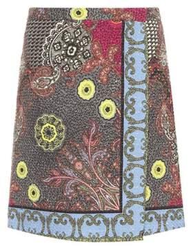 Etro Printed tweed wrap skirt