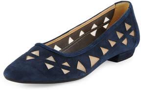Neiman Marcus Gordie Laser-Cut Suede Flat, Blue