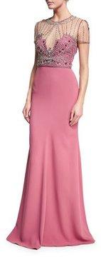 Jenny Packham Beaded-Bodice Illusion Gown, Rosewood