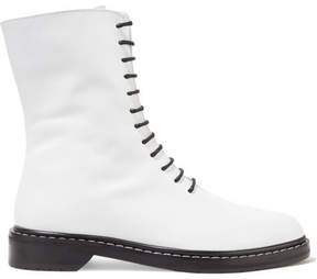 The Row Fara Leather Ankle Boots - White