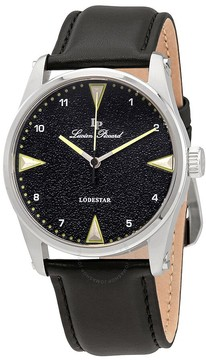 Lucien Piccard Black Dial Black Leather Men's Watch