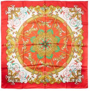 Hermes Women's Vintage Red Carousel Silk Scarf, 35 x 35
