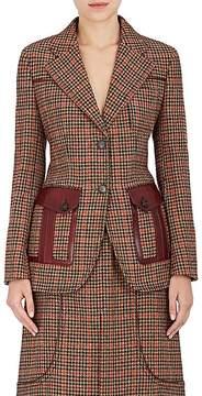 Prada Women's Houndstooth Wool-Blend Two-Button Blazer