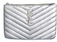 Saint Laurent Monogram Matelasse Leather Pouch - ARGENTO - STYLE