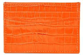 Aspinal of London Slim Credit Card Case In Deep Shine Amber Small Croc