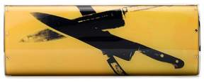 Calvin Klein yellow and black Andy Warhol print acrylic clutch