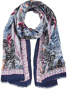 Barneys New York WOMEN'S FEATHER-PRINT KNIT SCARF