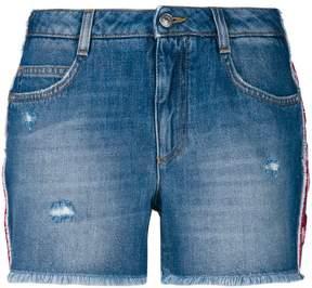Ermanno Scervino floral applique side stripe denim shorts