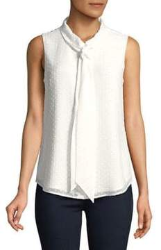 Isaac Mizrahi IMNYC Tie-Neck Sleeveless Textured Button-Up Blouse