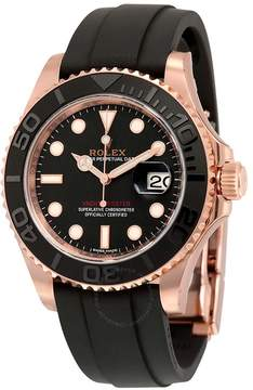 Rolex Yacht-Master Automatic Black Dial 18kt Everose Gold Black Rubber Strap Men's Watch BKSRS