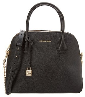 MICHAEL Michael Kors Mercer Large Leather Dome Satchel. - BLACK - STYLE