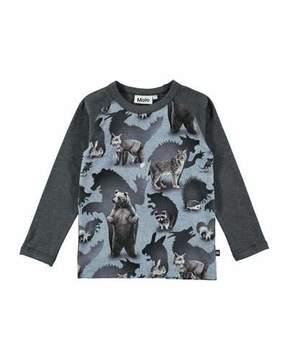 Molo Remington Long-Sleeve Animal T-Shirt, Size 4-10