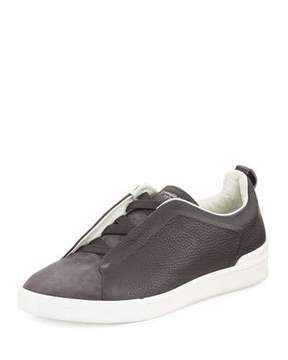 Ermenegildo Zegna Couture Men's Triple-Stitch Leather & Suede Low-Top Sneaker, Gray