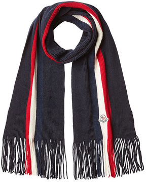 Moncler Ribbed Wool Scarf with Fringe