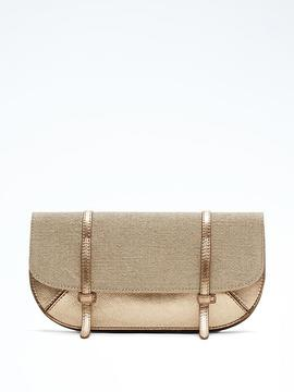Metallic Half-Moon Double-Strap Clutch