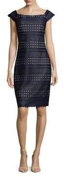 Eliza J Laser Cut Knee-Length Dress