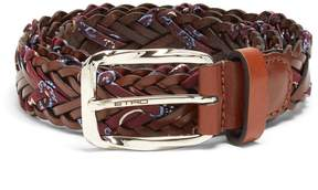 Etro Woven embroidered-twill and leather belt