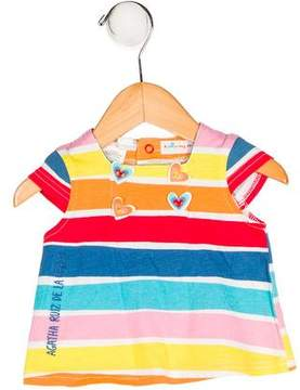 Agatha Ruiz De La Prada Girls' Striped Button-Accented Top