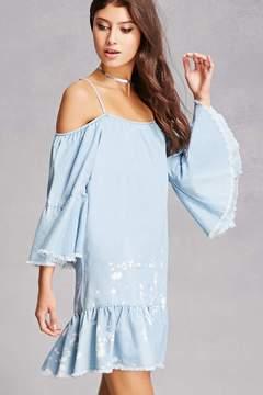 Forever 21 Open-Shoulder Chambray Dress
