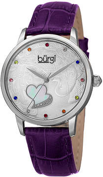 Burgi Womens Purple and Silver Tone Strap Watch