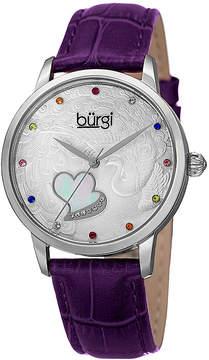 Burgi Womens Purple and Silver Tone Strap Watch