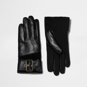 River Island Womens Black leather buckle faux fur lined gloves