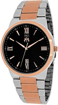 Jivago Clarity Mens Black Dial and Rose-Tone Bracelet Watch