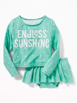 Old Navy Endless Sunshine Rashguard & Swim Skirt Set for Toddler Girls