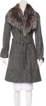 Antonio Berardi Fox-Fur Trimmed Wool-Blend Coat