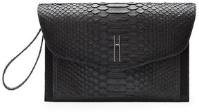 Hayward Bobby Matte Python Clutch Bag, Black