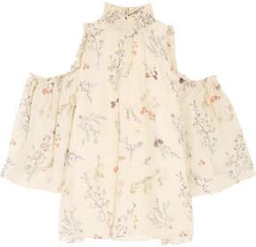 Rachel Zoe Callahan Cold-shoulder Floral-print Silk-chiffon Blouse - Ivory