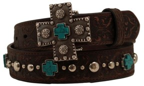 Ariat Western Womens Belt Studded Leather Cross M Brown A1517802