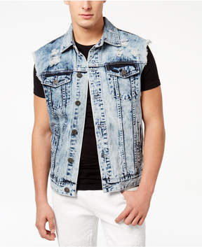 INC International Concepts I.n.c. Men's Acid Wash Cut-Off Denim Jacket, Created for Macy's