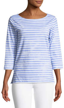 Neiman Marcus Majestic Paris for 3/4-Sleeve Striped Boat-Neck Top