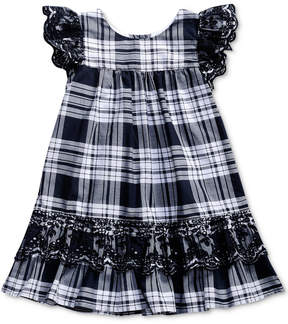 Sweet Heart Rose Eyelet-Embroidered Plaid Dress, Little Girls (4-6X)