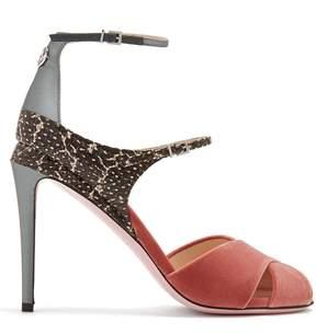 Fendi Snakeskin-trimmed velvet sandals