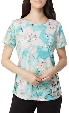 Allison Daley Embellished Lily Floral Print Wide Crew-Neck Top