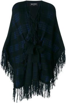 Balmain fringed tartan cape