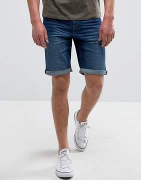 MANGO Man Denim Shorts In Mid Wash Blue
