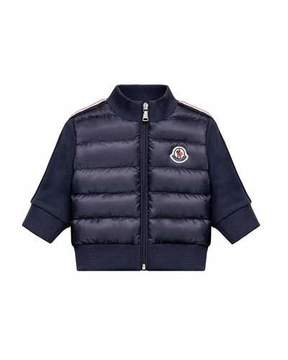 Moncler Down Quilted Coat w/ Knit Sleeves, Size 12M-3Y
