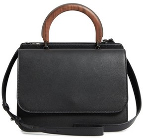 Max Mara New Venzia Wood Top Handle Leather Satchel - Black