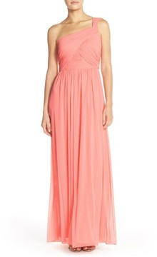 Alfred Sung Women's One-Shoulder Shirred Chiffon Gown