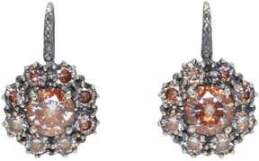 Bottega Veneta Silver Flowers Zircon Earrings