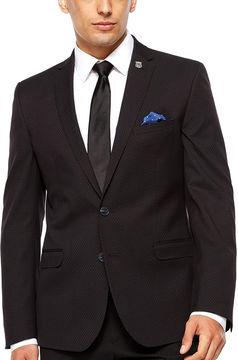 Asstd National Brand Nick Graham Black Pin Dot Suit Jacket-Slim