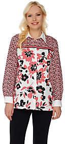Bob Mackie Bob Mackie's Long Sleeve Button Front FloralPrinted Top