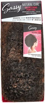 The Sassy Collection Natural Curl Off Black Auburn 16 Inch Drawstring Ponytail