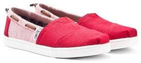 Toms Red Stripe Slip On Espadrilles