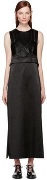 Calvin Klein Collection Black Satin Topstitched Gabiola Dress