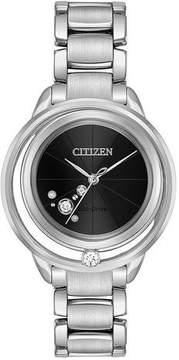 Citizen L Sunrise Solitare Black Diamond Dial Ladies Watch EW5520-50E