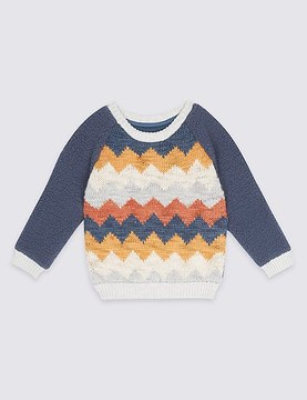 Marks and Spencer Printed Long Sleeve Jumper (3 Months - 5 Years)